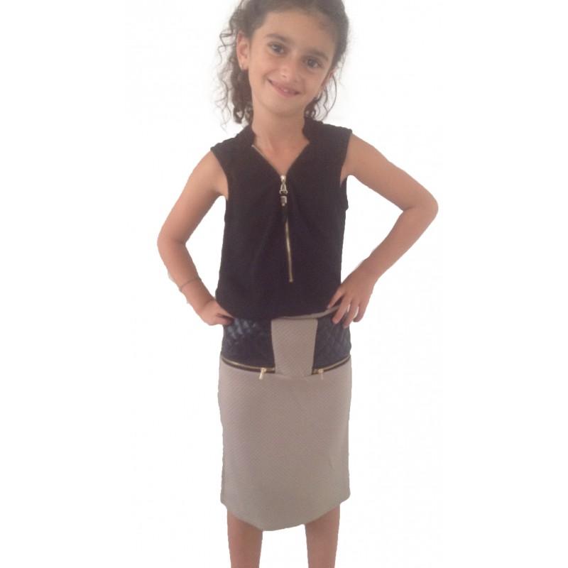 jupe beige simili cuir sur look de momes v tements pas cher pour enfants fashion. Black Bedroom Furniture Sets. Home Design Ideas