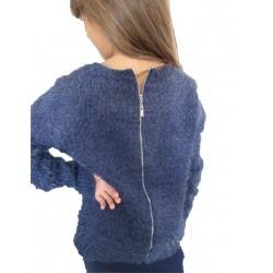 Pull doux bleu zip