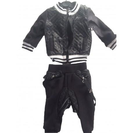 Ensemble jogging veste bretelles noir bébé