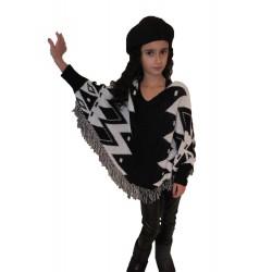 Poncho black and white