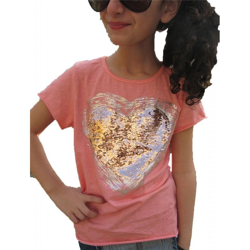 haut rose coeur sequins reversible sur look de momes v tements pas cher pour enfants fashion. Black Bedroom Furniture Sets. Home Design Ideas