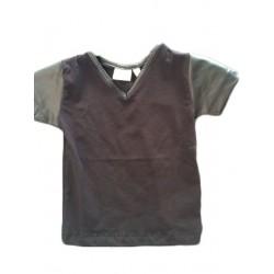 """T-shirt bébé col """"V"""" manches simili cuir"""
