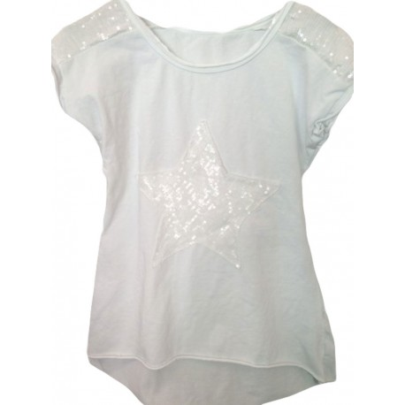 Top étoile sequins blanc
