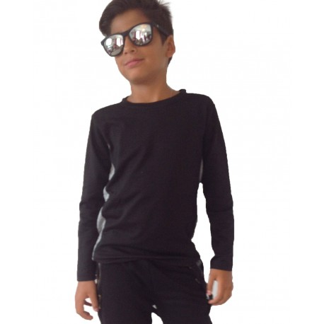 Tee-shirt duo manches longues noir/gris