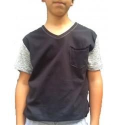 T-shirt noir manches courtes grises