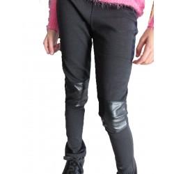 Pantalon-legging genoux cuir Noir