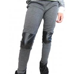 Pantalon-legging gris genoux simili cuir