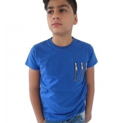Tee-shirt bleu 3 zip