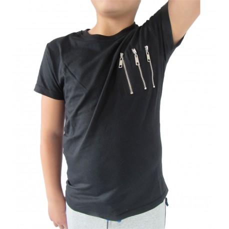 Tee-shirt noir 3 zip
