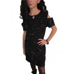 Robe Tunique noire tachetée