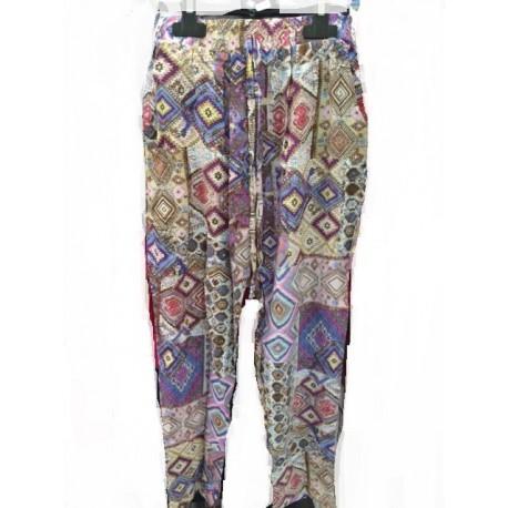 Pantalon patchwork multicolore