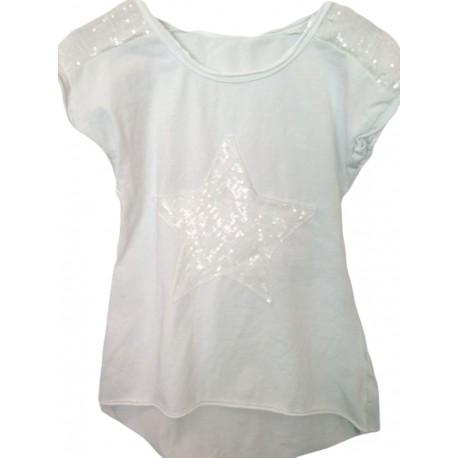Top étoile sequins blanc